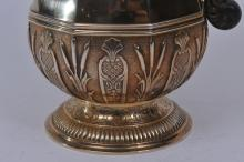 "Lot 147: 19th century French gilt silver chocolate pot. Cardeilac. Paris. Fixed final on cover. Hallmarked on base. Hallmarked inside cover rim. 10-1/2"" high. 34.4 ozt. Good condition."