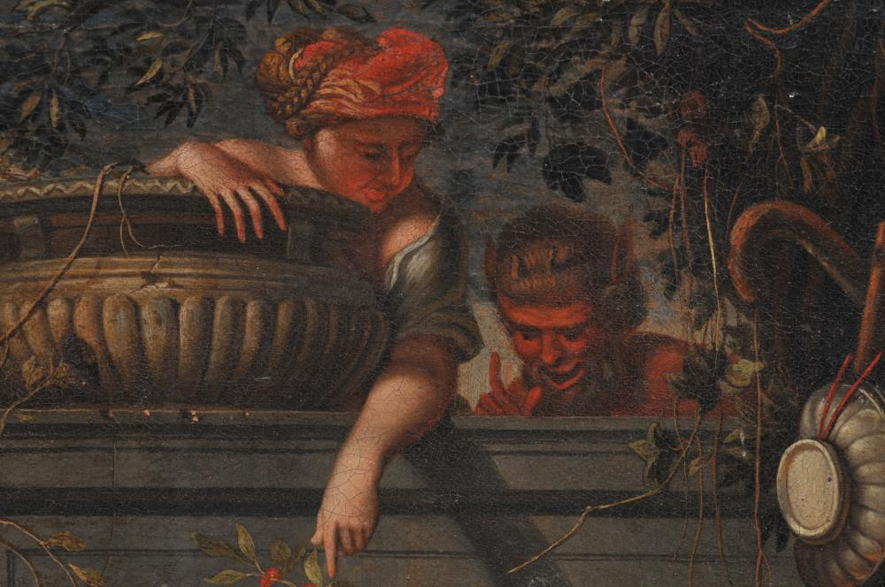 """Lot 191: 18th century Continental Old Master painting. The Baby Jesus petting a leopard in front of a wall bountiful with fruit and vessels. Behind the wall is a horned demon. Oil on canvas. Old reline. Minor overpaint. Craquelure. 1-1/2"""" scratch repair in up"""