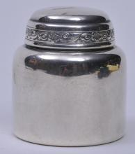 "Lot 234: Durgin sterling silver small covered round tea caddy with floral border decorated cover. 2-1/2"" diameter. 2-7/8"" high. 2.9 ozt."
