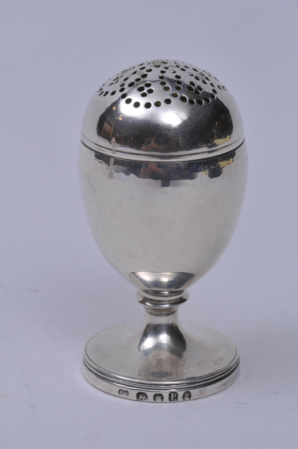 "Lot 239: 19th century English Georgian sterling silver salt shaker. Round body with line decoration. Round base. Marked on base rim. Slight dent around holes. London 1810-11 R.E. mark. 3-1/4"" high. 1.8 ozt."