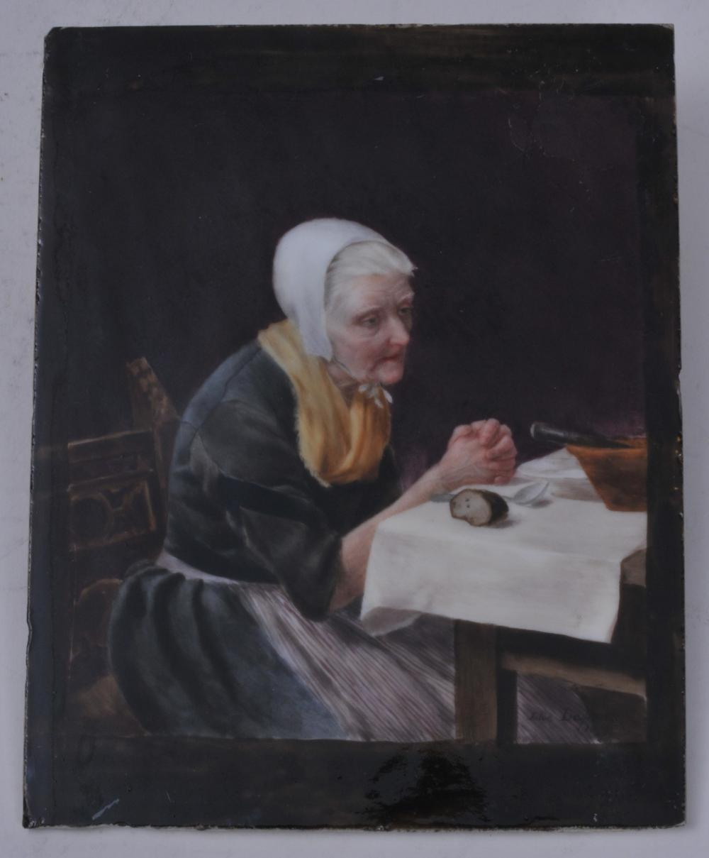 "Lot 247: 19th century hand painted porcelain plaque depicting an elderly woman eating at a table. Artist signed and dated lower right. Julie Dupont, 1879. Unframed. 6"" x 4-3/4"". Glaze loss upper right."