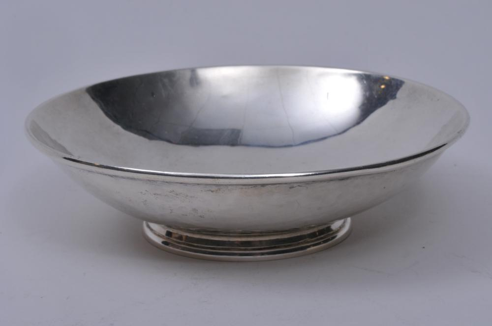 """Lot 246: """"Alfie"""" sterling silver Arts and Crafts small footed bowl. Hand hammered surface. Slight pitting. 4-1/2"""" diameter. 3.6 ozt."""