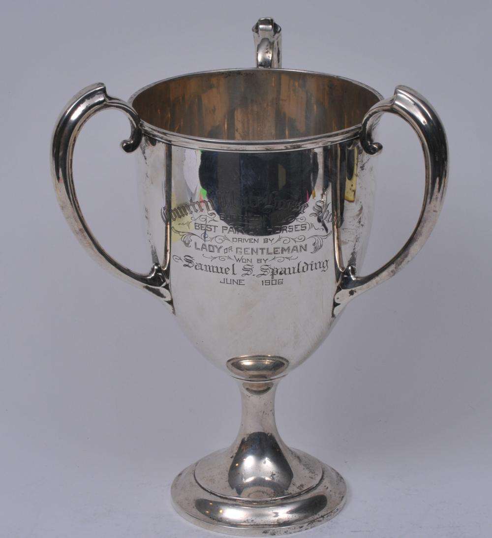 """Lot 258: Gorham sterling silver three-handled trophy. """"Country Club Horse Show. Buffalo, N.Y."""" 1906. Best pair of horses. Good condition. 12-3/4"""" high. 27.3 ozt."""