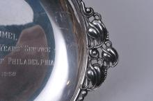 """Lot 271: Sterling silver presentation two-handle tray. """"1958 Federal Reserve Bank of Philadelphia"""". 10-1/2"""" wide. 9.2 ozt."""