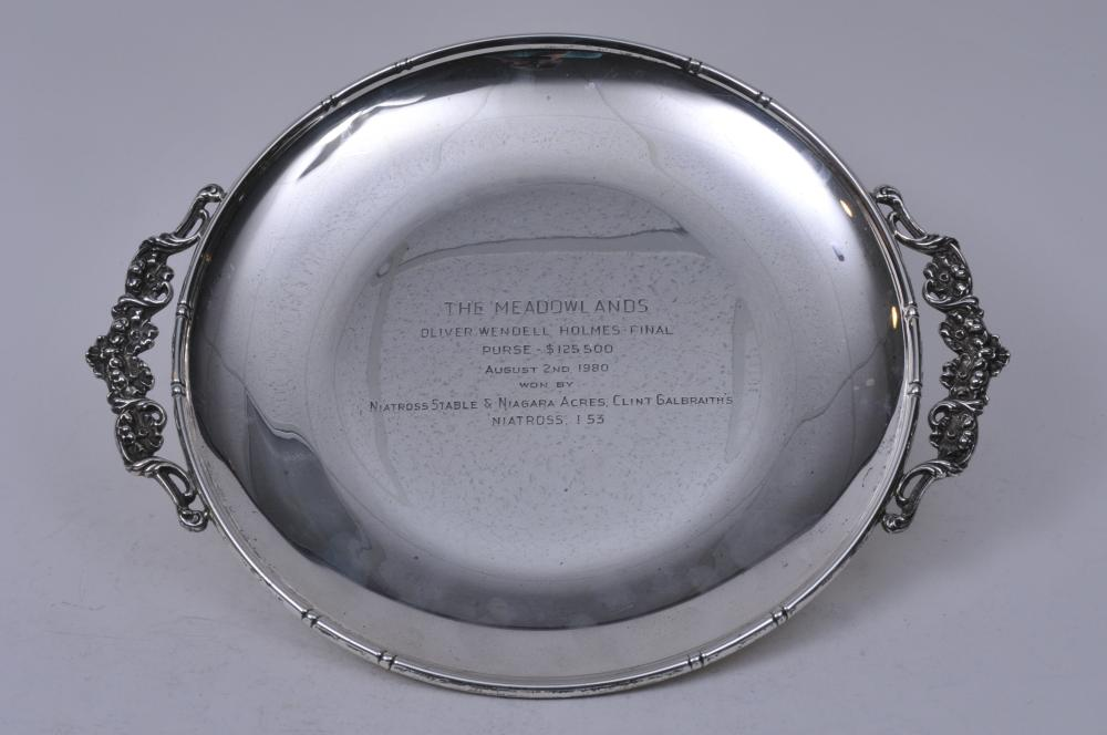"""Lot 269: Sterling silver large two handled presentation horse racing tray. """"The Meadowlands. Oliver Wendell Holmes- Final Purse- $125,000. Won by Naitross"""". 15-1/2"""" wide. 23.4 ozt."""