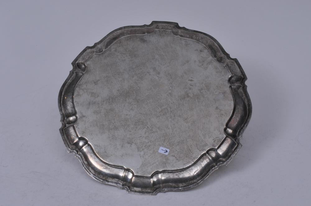 """Lot 268: Sterling silver scallop edge presentation tray. """"Flintlock Stakes"""" """"Champagne Charlie"""" November 19, 1973. 10"""" diameter. 15.3 ozt."""