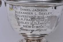 """Lot 273: Sterling silver large two handled trophy. 1906. """"Colonial Theatre, New York"""". Presented to Mr. William Masaud. 10-1/2"""" high. 34.6 ozt."""