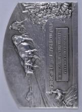 """Lot 307: 1913 French Agriculture medal. Ministry of Agriculture Chateauroux Grand Prize. Marked Argent. Signed- Leo Laporte-Blairsy. 3"""" x 2-1/4"""". 4 ozt."""