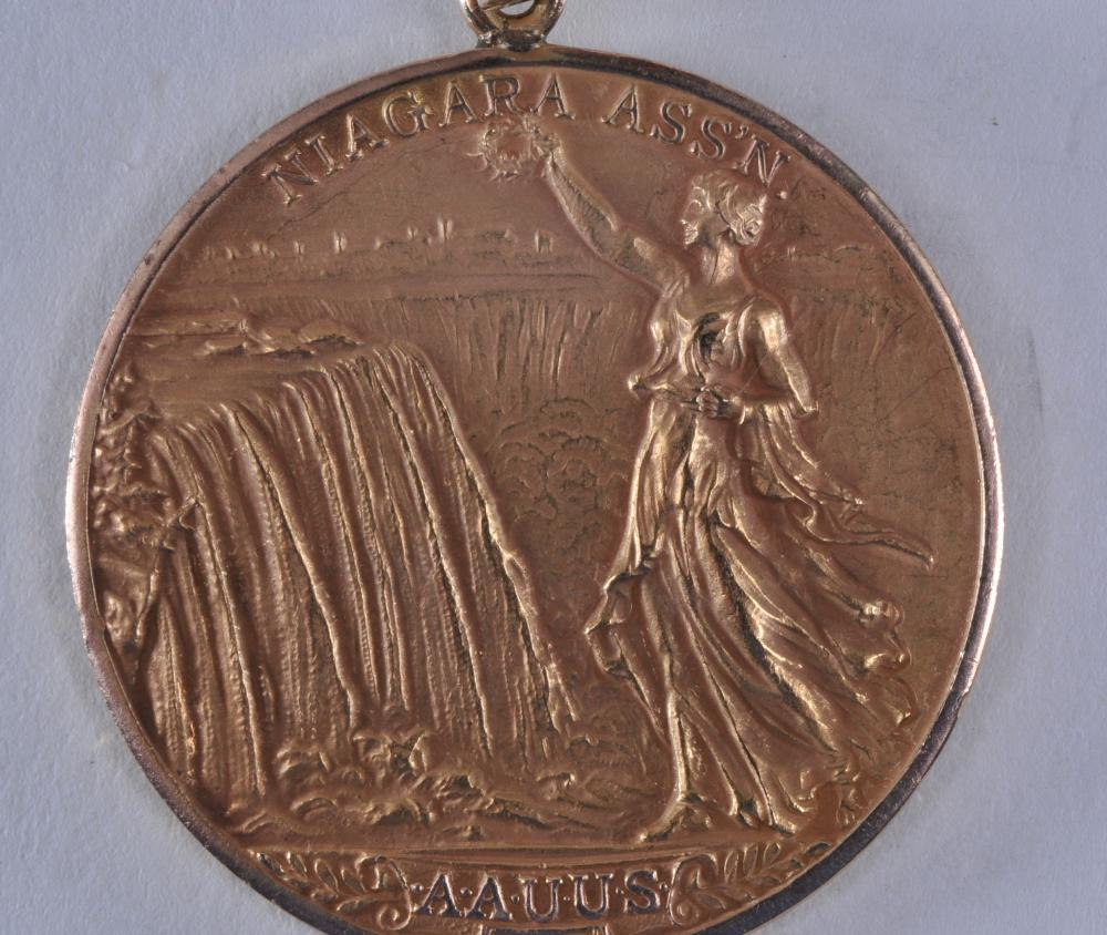 "Lot 314: 1925 Volleyball Medal Niagara Assn. of the Amateur Athletic Union of The United States. Marked Dieges & Clust. 10K. 1-1/2"" diameter. 19 grams."