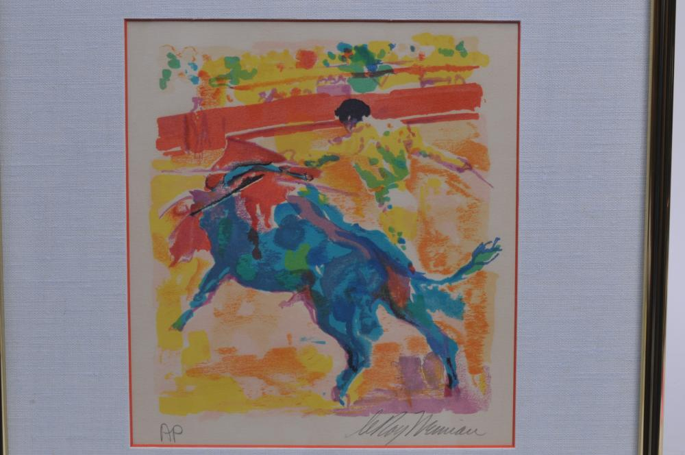 """Lot 354: Leroy Neiman. Colored serigraph. Pencil signed. A/P- Artist proof. Framed under glass. Sight size: 10"""" x 9-1/4"""". Overall size: 18"""" x 16""""."""