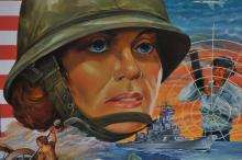 "Lot 357: ""Tribute"" original illustration painting paying homage to The American Military Woman. Oil on board. Signed Kribs lower right. Painting depicts American women from Colonial War era to current day. Framed. Overall size: 31-1/2"" x 25-1/2""."