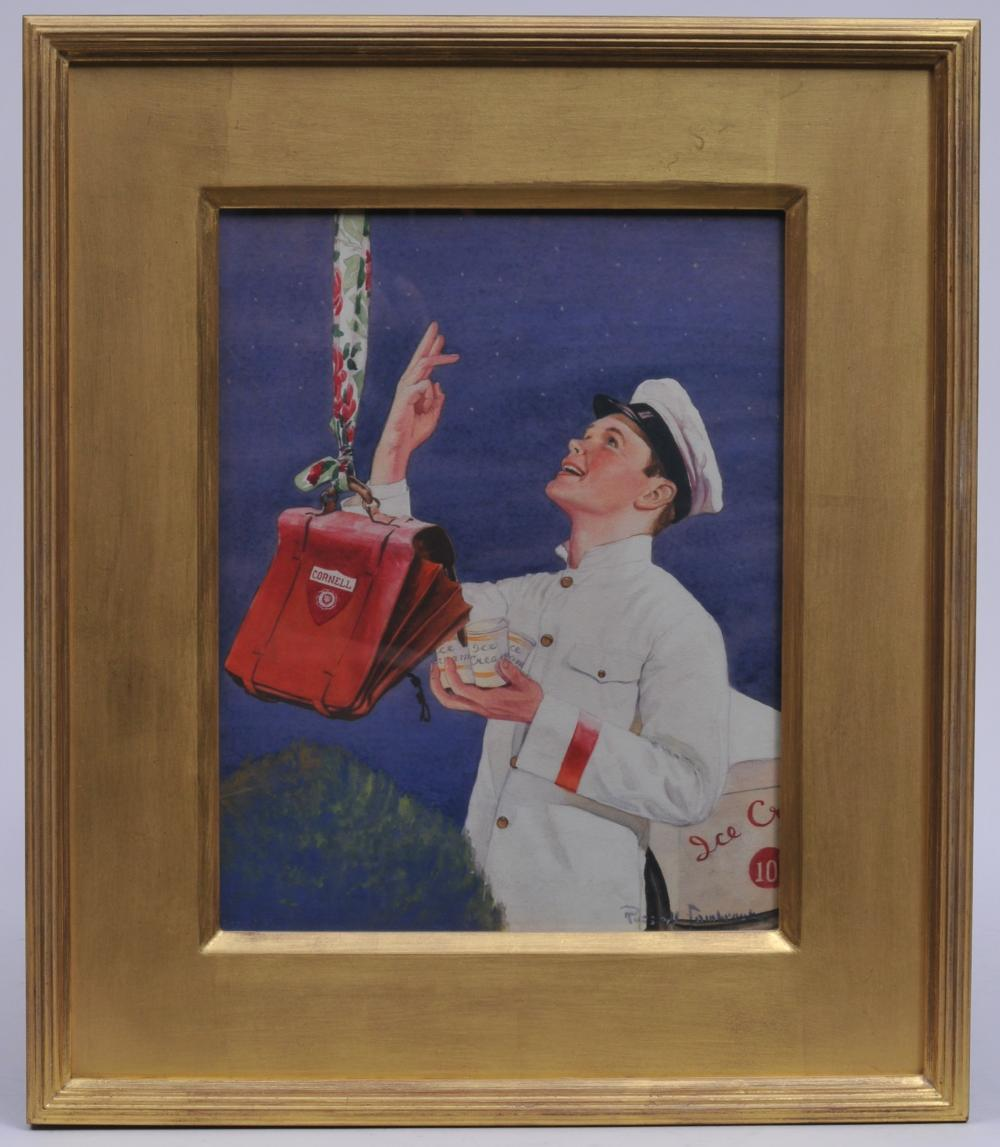 "Lot 355: Russel Sambrook. Watercolor painting. Rockwellian image of an ice cream boy delivering ice cream to a Cornell student bag. In a fine quality gilt frame. Sight size: 13"" x 10-1/4"". Overall size: 20"" x 17""."