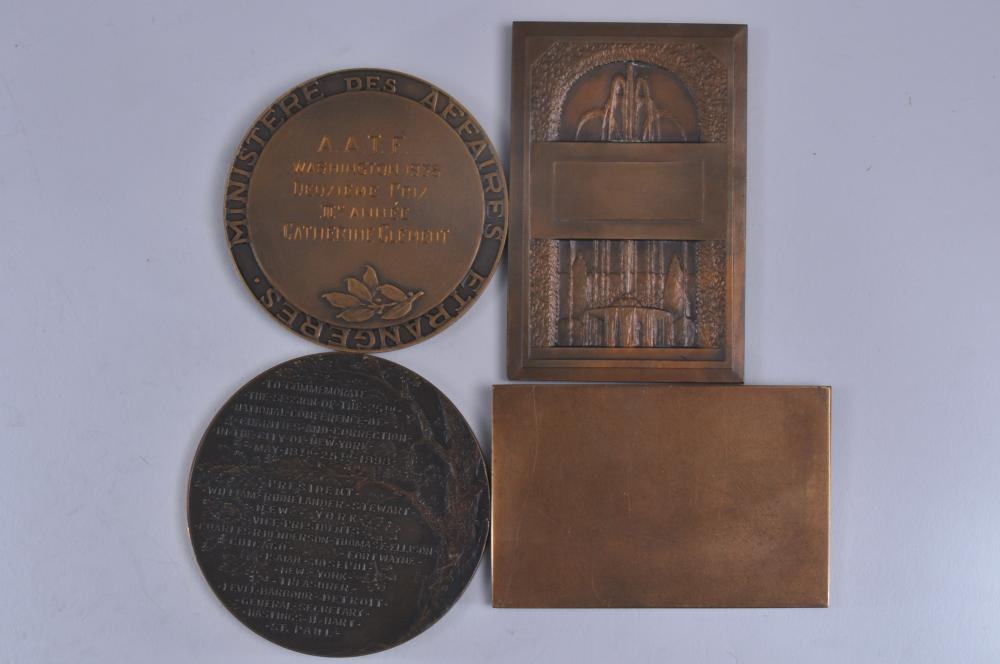 """Lot 316: Lot of four bronze medals. (1) American Numismatic & Archaeological Society. New York. 1898. Charities & Correction in NYC. 3"""" wide. (2) Int'l Philatelic Exhibition, 1936 NY. 3-1/4"""" x 2-1/4"""". (3) Republique Francais 1938 engraved medal. 2-3/4"""" wide w"""