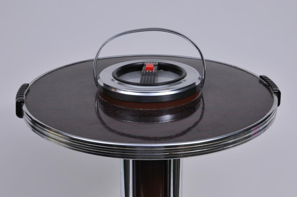 "Lot 353: Art Deco metal and chrome ashtray stand. 21"" tall including handle. 17"" wide diameter of top. Red button depresses to drop butts into respectable. Light scratches to finish."