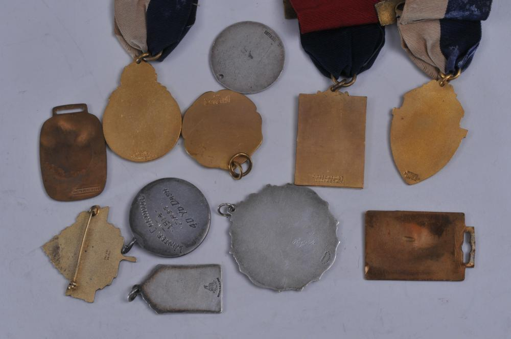 Lot 348: Lot of eleven vintage Athletic medals. (1) Whitehead-Hoag football medal. (2) Harvard Athletic Assoc. 1914. sterling silver medal (3) 1958 Operation Aspen sterling silver medal. (4) Polytechnic Preparation School medal. (5) Athletic Assoc. Medal by D