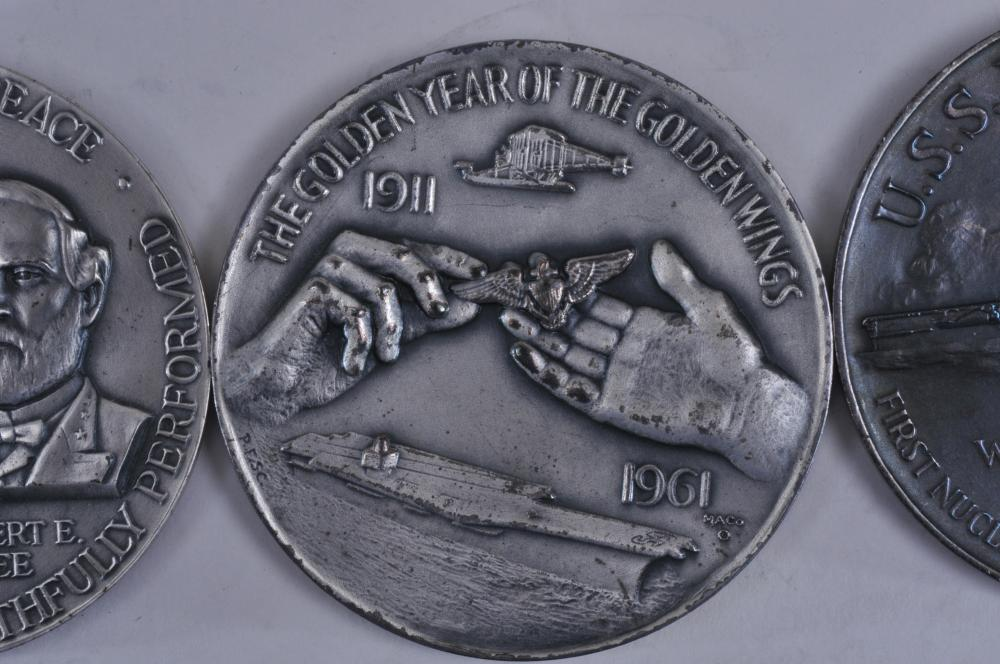 "Lot 329: Lot of three large silver medals. (1) 1961-65 Civil War Centennial Commission Medal with Gen's Grant & Lee. 2-1/2"" diameter. 4.2 ozt. (2) 1911-1961 Naval Aviation Anniversary Medal. 2-1/2"" diameter. 4.1 ozt. (3) USS Enterprise Medal Commerating The"
