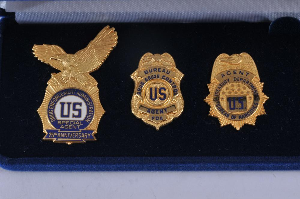 Lot 337: 1973-1998 Drug Enforcement Administration 25th Anniversary . Six medals boxed set.
