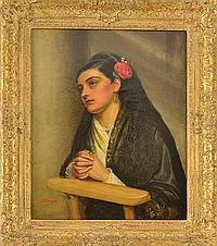 "JOHN BAGNOLD BURGESS BRITISH 1830-1897, ""Spanish Woman with a Rose"""