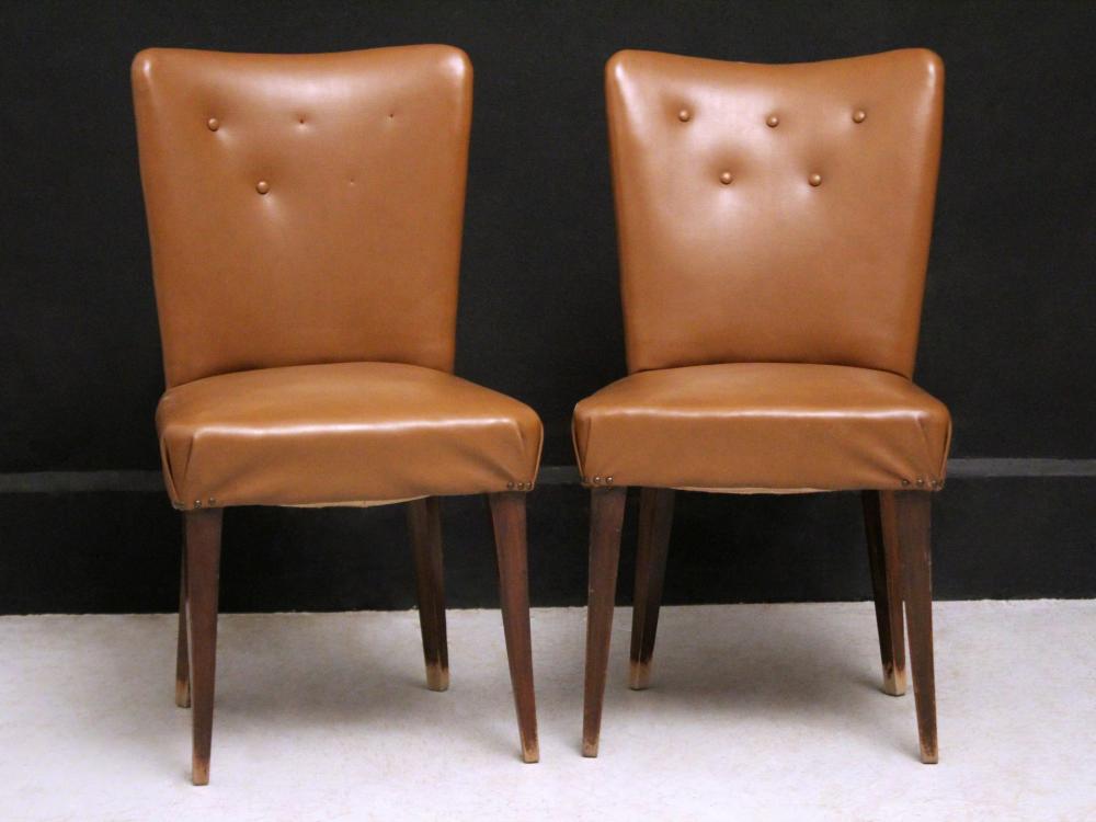 Sedie Vintage Pelle : Coppia di sedie vintage rivestite in pelle