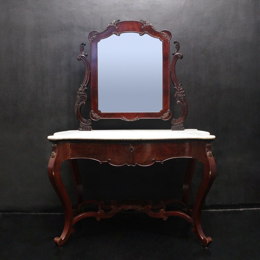 Toletta luigi filippo in piuma di mogano piano in marmo sp for Lots specchio