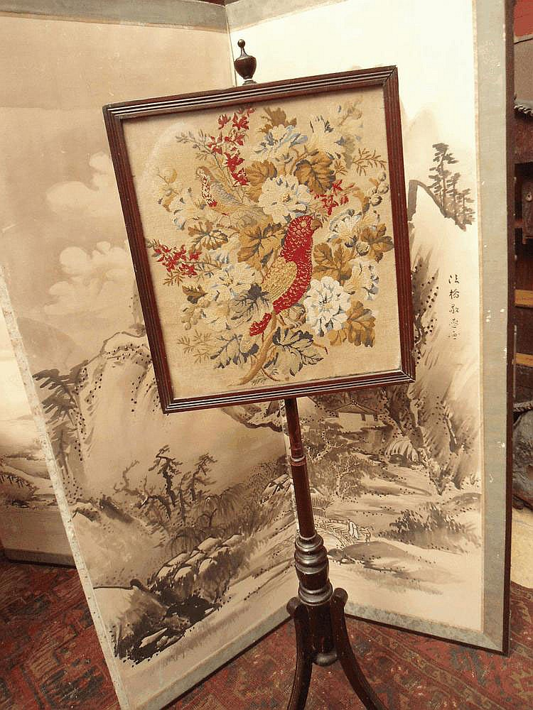 An early C20 tapestry Pole screen