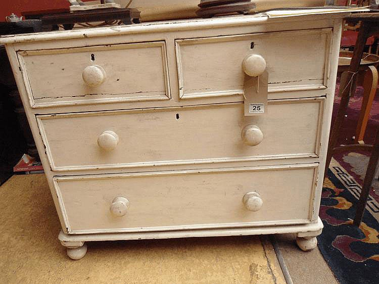A small Victorian white painted chest of drawers