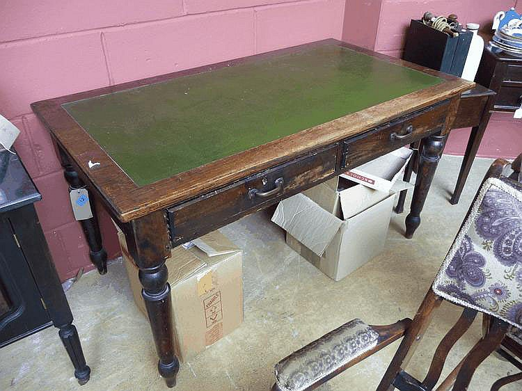 Late Victorian oak writing table