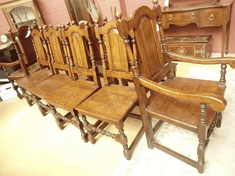 10 mid 20thC oak dining chairs in early 20thc