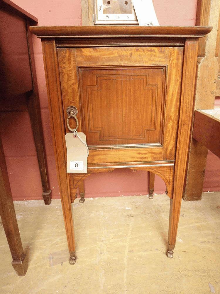 An Edwardian inlaid mahogany pot cupboard