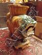 A Chinese pottery sancai seat a/f