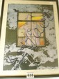 Japanese woodblock. 1970's '' I heard a rumbling