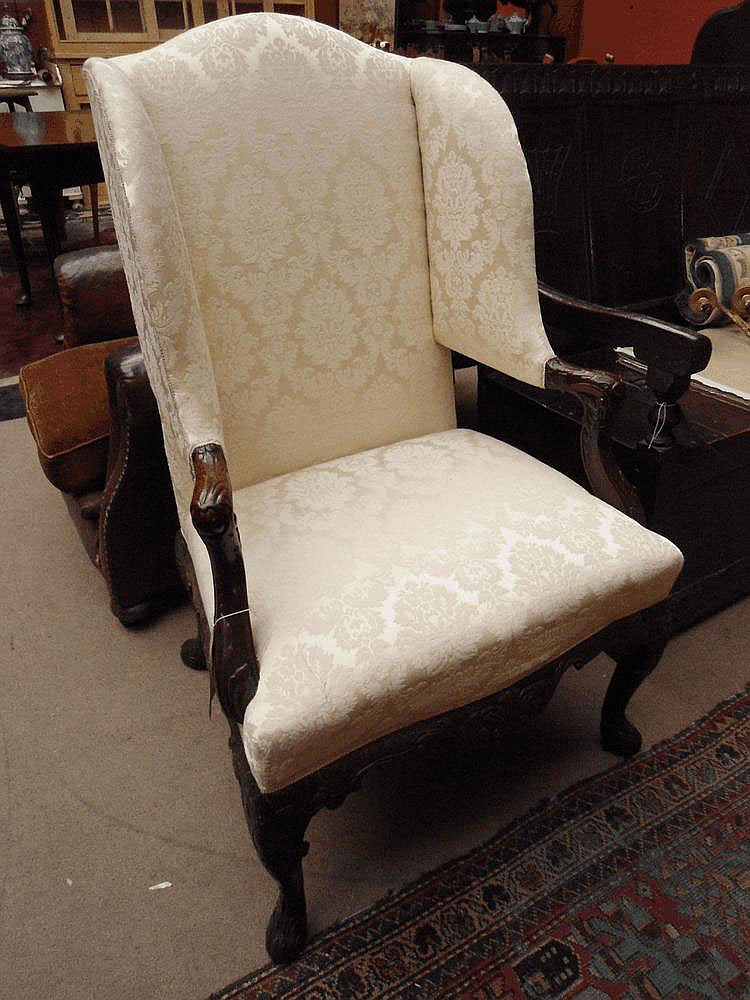 George II style wing armchair