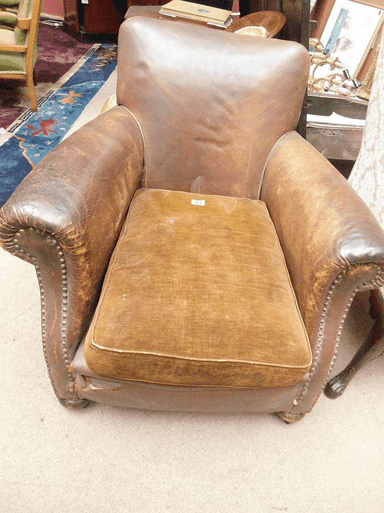 A Victorian leather club armchair