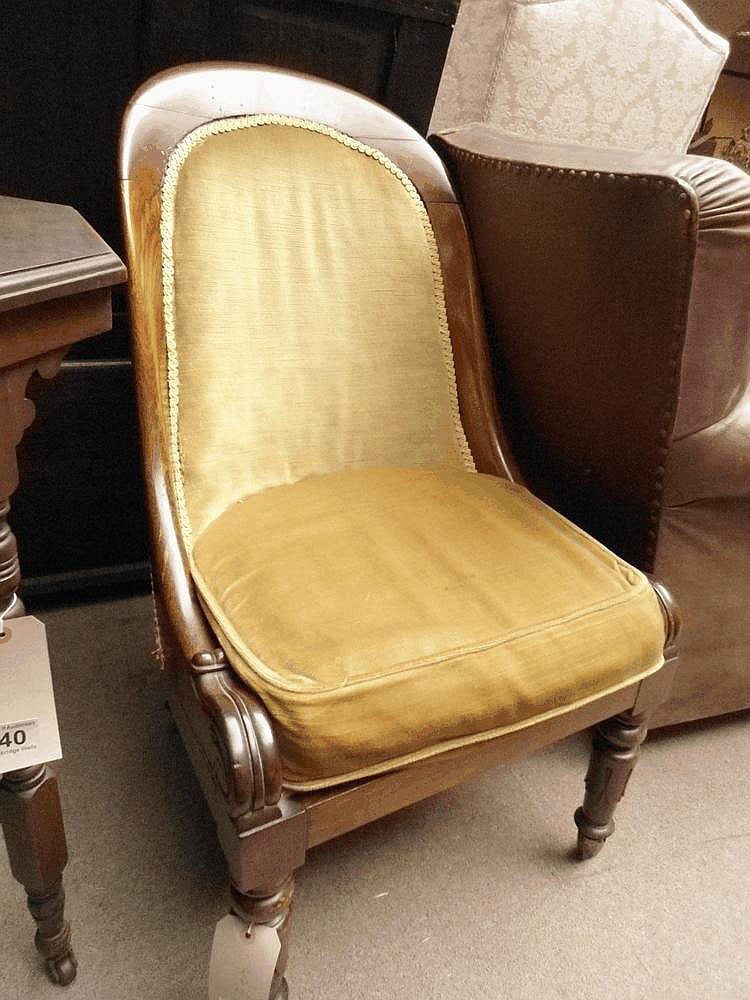 A William IV mahogany low chair