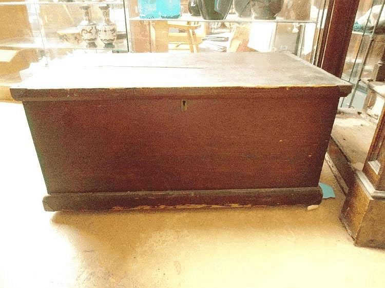 A 19thC pine blanket box with brass corners and