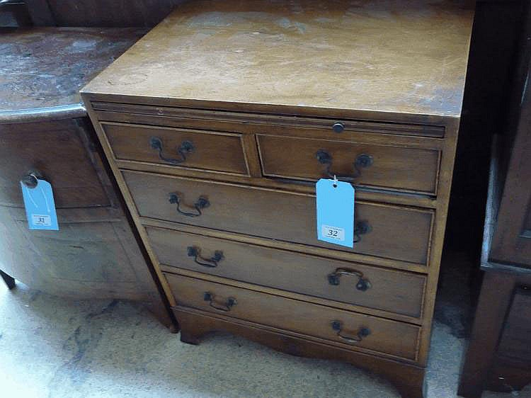 A C20 Geo III style walnut small chest of drawers