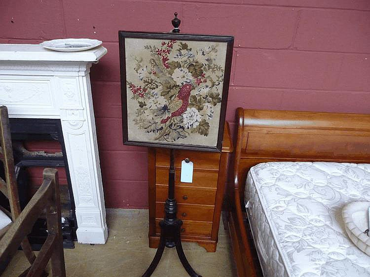 An early mahogany C20 tapestry Pole screen