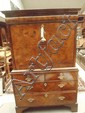 An early C20 burr walnut secretaire en abbatant,