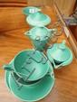 A 1930's Celadon green glazed part tea set