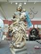 A carved polychrome C19 poss madonna & child
