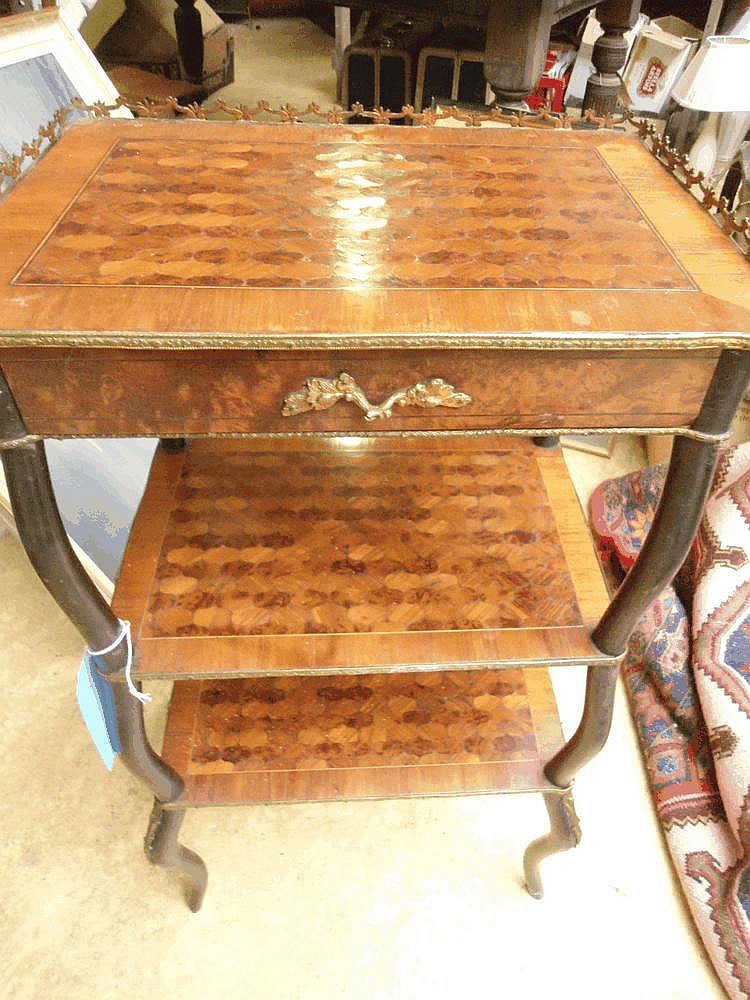 A C19 French kingwood and burr walnut marquetry