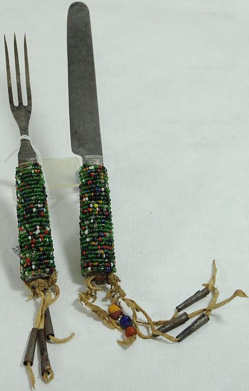 Beaded Knife And Fork Set 3 Tin Cone Dangler