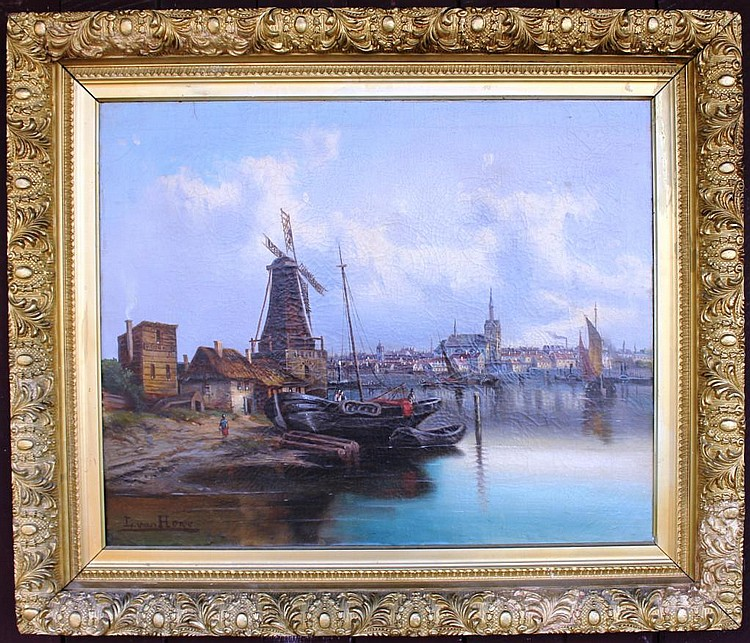19TH C. OIL ON CANVAS, DUTCH PORT SCENE,
