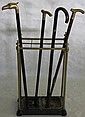 19TH C. BRASS & CAST IRON CANE STAND,