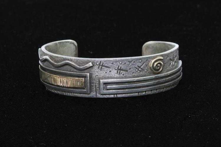 NATIVE AMERICAN CUFF BRACELET STERLING SILVER GOLD FILLED