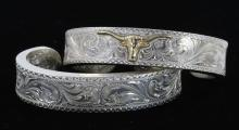 TWO AMERICAN WESTERN STYLE CUFF BRACELET STERLING SILVER GOLD FILLED