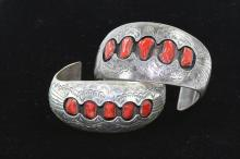 TWO NATIVE AMERICAN CUFF BRACELETS STERLING SILVER AND CORAL