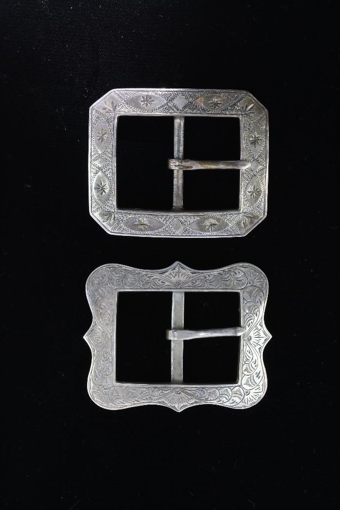 TWO WESTERN STERLING SILVER BELT BUCKLES