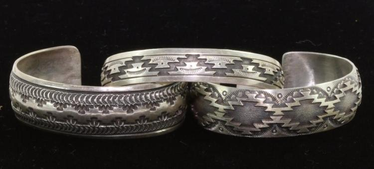 THREE NATIVE AMERICAN CUFF BRACELETS STERLING SILVER