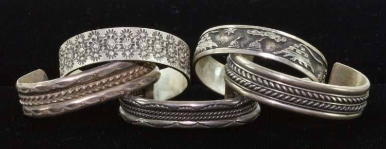 FIVE (5) NATIVE AMERICAN CUFF BRACELETS STERLING SILVER